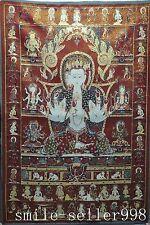 "36"" Tibet Silk Embroidery Art Buddhism Tangka 6 arm Green Tara Kwan-yin Statue"