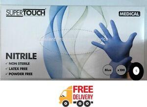 100 Disposable Gloves Nitrile Vinyl Powder Latex Free Medical Blue Powdered Late