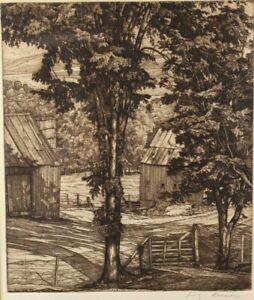 LUIGI LUCIONI Original TREES AND SHADOWS Signed 1957 Etching VERMONT VT Artist