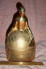 Antique Trinket Box Gold Deco Lady w Fan Lovely Mottled Gold Lustre
