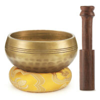 Yoga Healing Singing Bowl Tibetan Buddhist Brass Meditation Gong Zen Mallet Set