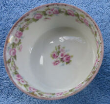 """Vtg Elite Limoges France Small China Dish 3"""" diam. Pink Flowers Wreath Bouquet"""