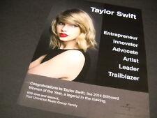 TAYLOR SWIFT ...innovator...artist...trailblazer 2014 PROMO POSTER AD mint cond