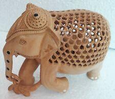 Wood Elephant Handmade Carved Fain Collectible Art