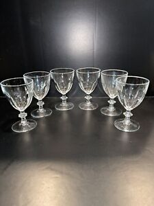 "6 CRISTAL D'ARQUES RAMBOUILLET CRYSTAL Wine GLASSES GOBLETS 4 3/4"" Mint!"