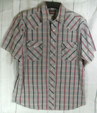Wrangler Checked Mens Short Sleeve Western Shirt Top Size L 16-16.5