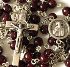 *St. Benedict GARNET GEMSTONE Bead gift Rosary Catholic Necklace Cross Jerusalem