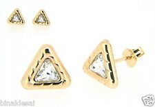 Womens Ladies 9ct Gold 8mm Large Triangle CZ Studs Earrings Anniversary GIFT BOX
