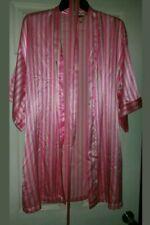 Victoria Secret Women's Night Robe Satin Bright Pink Stripe Belt Lingerie S M
