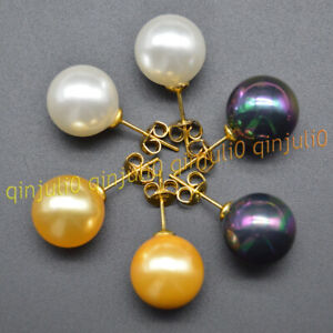 3 Pairs Genuine 8/10/12mm White Black Gold Shell Pearl Gold Plated Stud Earrings