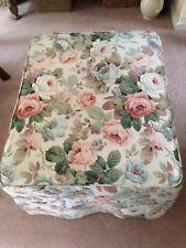 Vintage Sanderson Fabric Custom Footstool w/ Removable Cover