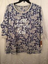 NWT Sonoma Blue & Gray Long Sleeve Floral Graphic Blouse Size 1X