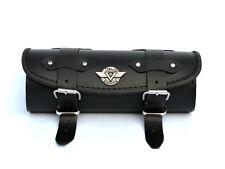 (Vbk) Leather Pouch Tool Roll Bag Kawasaki Vulcan VN 800 900 1500 1600 1700 2000