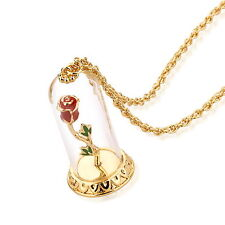 Disney Couture Beauty & the Beast Gold-Plated Enchanted Rose Glass Necklace