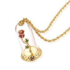 DISNEY COUTURE beauté & THE BEAST plaqué or Enchanté Rose Verre collier