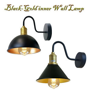 RETRO INDUSTRIAL BLACK-GOLD INNER SCONCE WALL LIGHT BRUSHED INDOOR WALL LAMP