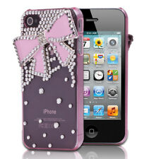 3D Pink Bling Crystal Rhinestone Luxury Tie Hard Cover Case For iPhone 4 4G 4S