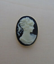 Classic Black Vintage Cameo Brooch, Pin