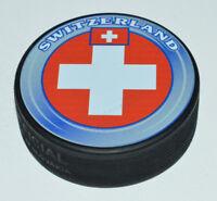 TEAM SWITZERLAND 2014 Sochi Olympics Souvenir HOCKEY PUCK Flag Logo Rare
