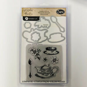 SIZZIX® FRAMELITS STAMP & DIE CUT - TEA TIME by GRAPHIC 45™ FREE UK P & P