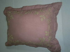 "CHAPS HOME Dusty Rose Pink 23"" Pillow With Floral Embroidery Slip Cover"