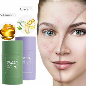 Green Tea Purifying Clay Stick Mask Anti-Acne Deep Cleansing Eggplant Fine Solid