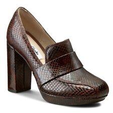 Clarks Ladies Heeled Shoes GABRIEL SOHO Dark Tan Snake UK 6  / 39.5