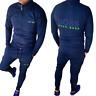 Men Hooded Hugo Boss Tracksuit Full Zip Long Sleeve Long Pants Blue/Black Color