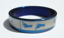 Blue Foot Print Stainless Steel Ring - Size 9 (19 mm)