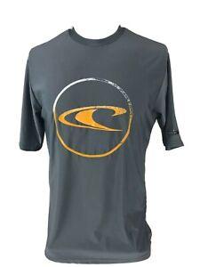 Quiksilver UV 50+ Short Sleeve Rash Guard Gray Medium Spellout Logo
