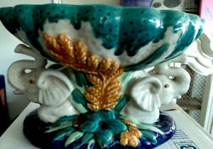 Centerpiece Two Elephants Crying Bowl, Woven Ceramic Majolica hand made