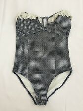 OCEAN CLUB NAVY WHITE GEO PRINT STRAPLESS FRILLY PADDED SWIMMING COSTUME SIZE 10