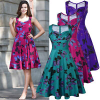 Womens 1950s 60s Retro Butterfly Print Cocktail Evening Party Swing Skater Dress