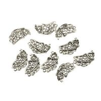 10PCS Butterfly Wing Beads Tibetan Silver Charms Pendant Fit DIY Jewelry 21*13mm