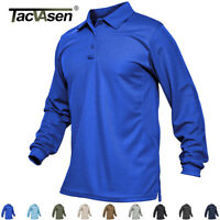 Men's Utility Long Sleeve Polo Shirt Tactical Pullover Sports Golf T Shirts Tops