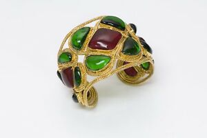 CHANEL 1980's Maison Gripoix Byzantine Style Red Green Glass Cuff Bracelet