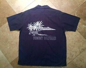 Tommy Hilfiger Short Sleeve Graphic Hawaiian Style Shirt 100% Cotton Blue L Men