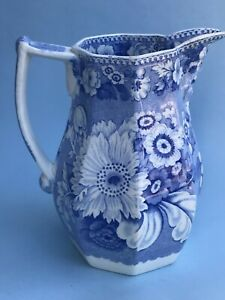 "NICE! Staffordshire UK:SEMI CHINA (Unkn) 6 sided~Blue Transferware 6.5"" PITCHER"