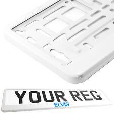 ELVIS PRESLEY WHITE Car Number Plate Surround Holder FOR ANY CAR VAN BLUE TXT