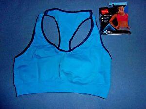 Size L NIP Hanes Blue X-Temp Jog Bra Seamless Racerback Sports Bra B0820