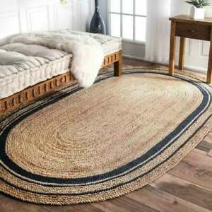 indian hand braided jute blue border oval rag rug doormat rug custom size rug