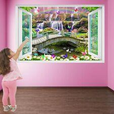 Waterfall Flowers Butterflies Rainbow Wall Sticker Mural Decal Print Art HD41