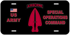 Airborne US Army Special Operations Command Novelty Car License Plate