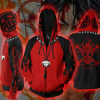 Anime One Piece Portgas·D· Ace Cosplay 3D Hoodie Zipper Sweatshirt Jacket Coat