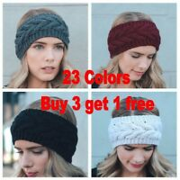 Women Crochet Headband Knit Flower Hairband  Warmer Winter Headwrap Fashion