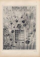 1950 Caron PRINT AD La Fete Des Roses Parfum Bottle Pretty Floral ART Decor