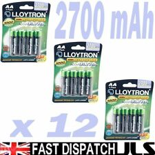 12 x Lloytron AA Rechargeable Batteries 2700 mAh Rechargable 3 x 4 Packs