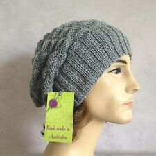 HAND KNITTED MENS SIZE LARGE GREY AUSTRALIA WOOL 2 IN 1 BASKET WEAVE BEANIE