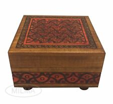 Polish Handmade Wooden Brown Carved Puzzle Box Secret Opening Keepasake