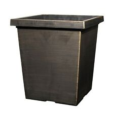 43 Litre BLACK BRONZE Large Plant Pot Square Tall Plastic Planter Outdoor Garden